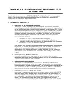 Contrat sur les informations personnelles et les inventions