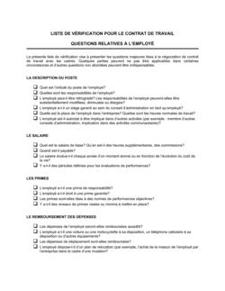 Liste de vérification Contrat de Travail_Questions relatives à l'employé