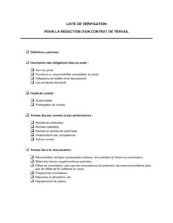 Liste de vérification Pour la rédaction d'un contrat de travail