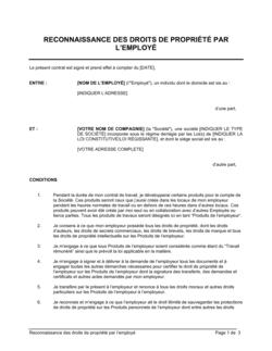 Reconnaissance des droits de propriété par l'employé