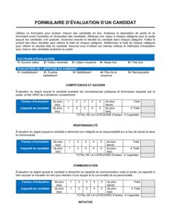 Formulaire d'évaluation d'un candidat