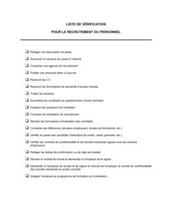 Liste de vérification Pour le recrutement du personnel