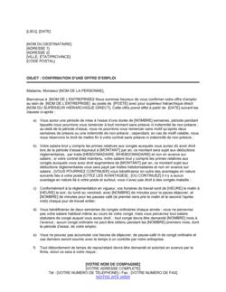 Lettre de confirmation des clauses d'un contrat de travail