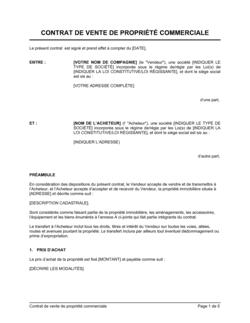 Contrat de vente de propriété commerciale