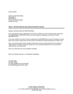 Notification de violation de contrat de location