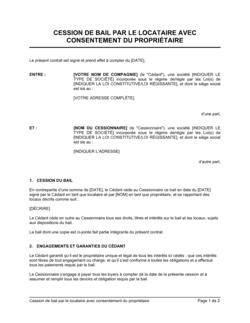 Cession de contrat de bail avec consentement du propriétaire