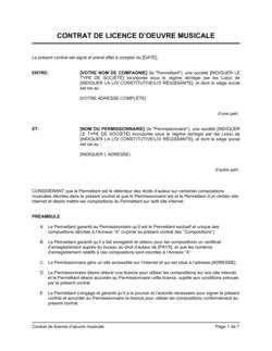 Contrat de licence d'oeuvre musicale