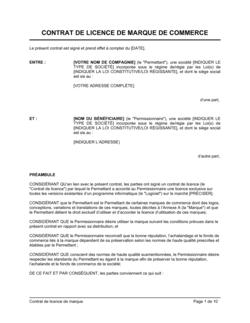 Contrat de licence de marque de commerce