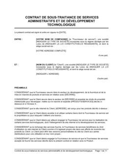Contrat de sous-traitance de services administratifs et de développement technologique