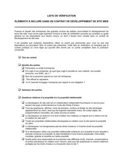 Liste de vérification Questions relatives au contrat de développement de sites