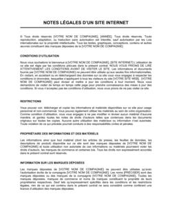 Notes légales pour site Web