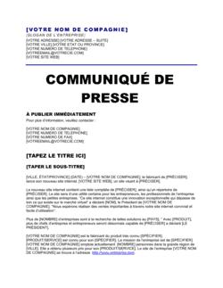 Communiqué de presse Annonce d'un site internet