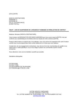 Avis de suspension de livraison et demande de résiliation de contrat