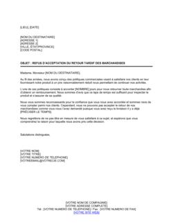 Notification de refus d'acceptation de retour tardif de marchandises