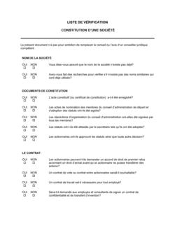 Liste de vérification de constitution de société