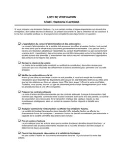 Liste de vérification pour l'émission d'actions