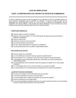 Liste de vérification pour la préparation d'un contrat de société en commandite