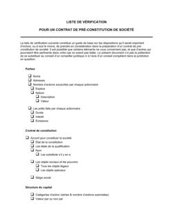 Liste de vérification pour un contrat de préconstitution de société