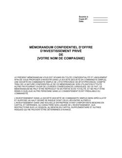 Mémorandum confidentiel d'offre d'investissement privé