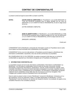 Contrat de confidentialité