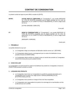 Contrat de consignation