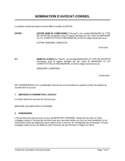 Contrat de nomination d'avocat-conseil