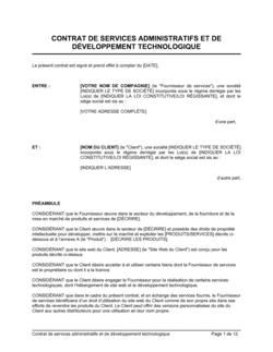 Contrat de services administratifs et de développement technologique