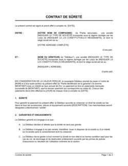 Contrat de sûreté version courte