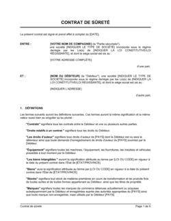 Contrat de sûreté version longue