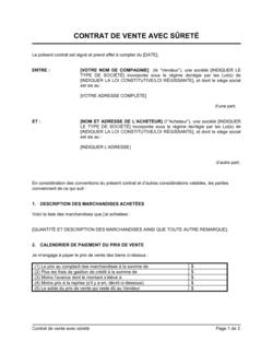 Contrat de vente avec sûreté