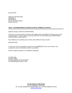 Reconnaissance de modification de termes de contrat