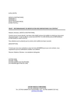 Reconnaissance de modification des dispositions de contrat
