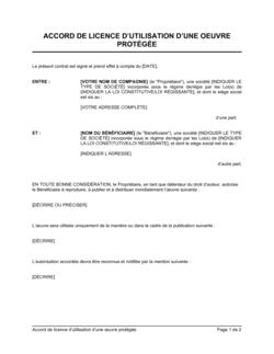 Accord de licence d'utilisation d'une oeuvre protégée