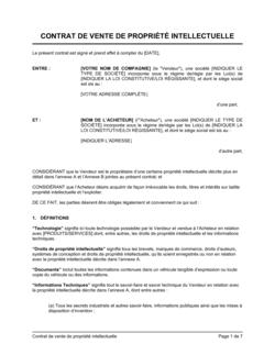 Contrat de vente de propriété intellectuelle