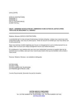 Dernière notification avant une action en justice après tentative de règlement à l'amiable