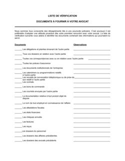 Liste de vérification Documents à fournir à votre avocat