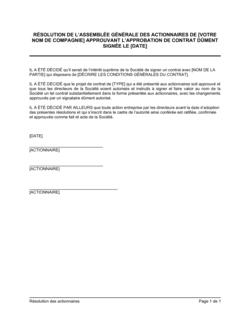 Résolution des actionnaires approuvant l'approbation de contrat
