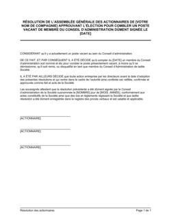 Résolution des actionnaires approuvant nouveau membre au CA
