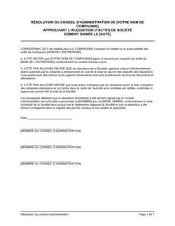 Résolution du CA approuvant l'acquisition d'actifs