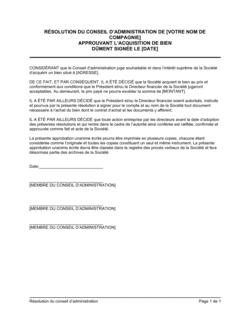 Résolution du CA approuvant l'acquisition de bien