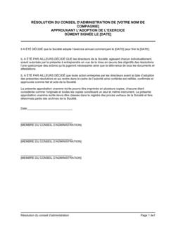 Résolution du CA approuvant l'adoption de l'exercice