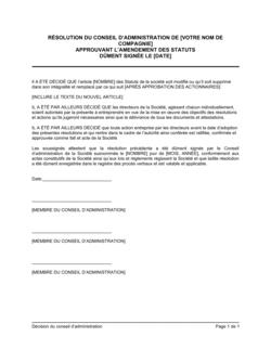 Résolution du CA approuvant l'amendement des statuts