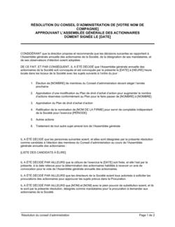 Résolution du CA approuvant l'assemblée générale