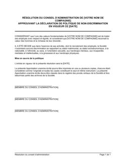 Résolution du CA approuvant la politique de non-discrimination