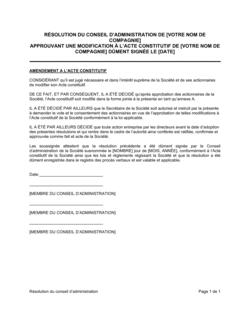 Résolution du CA approuvant un amendement à l'Acte Constituf