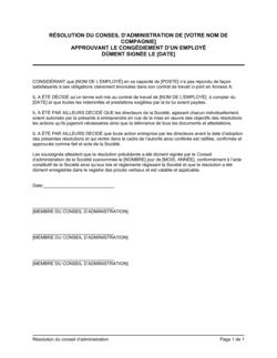 Résolution du CA approuvant un congédiement