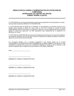 Résolution du CA approuvant un contrat de travail