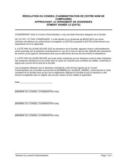 Résolution du CA approuvant un dividende