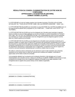 Résolution du CA approuvant une acquisition