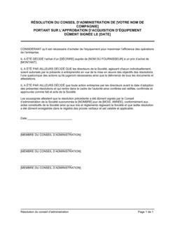 Résolution du CA portant autorisation d'achat d'équipement